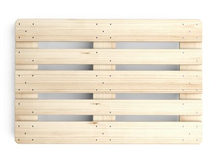 Wooden Euro pallet was not in use. Top view. 3d illustration isolated on a white background. Stockfoto