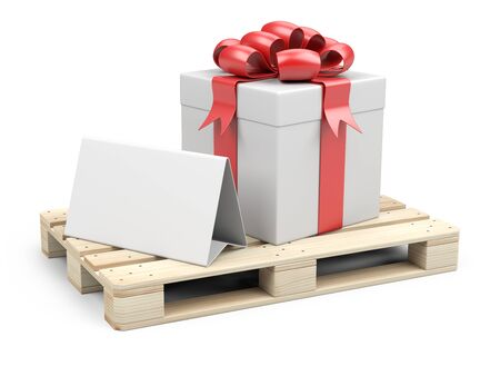 Wooden pallet with gift box, ribbons and red bow. With a template for congratulations. 3D illustration isolated on white background.