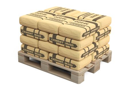 Paper cement bags in stack on wooden pallet. 3d illustration isolated on a white.