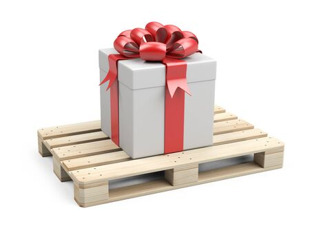 Wooden pallet with gift box, ribbons and red bow. Festive delivery. 3D illustration isolated on white background.