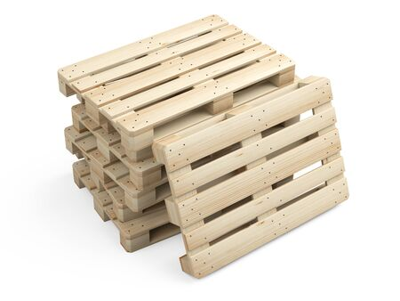 A pile stack of new wooden pallets. Side view. 3d illustration isolated on a white background. Stockfoto