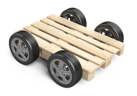 A wooden pallet on wheels. Delivery - concept. 3D illustration isolated on white background. Stockfoto