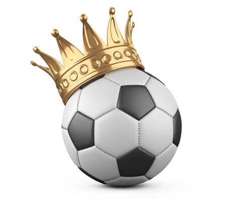 Soccer ball with golden crown. Victory concept. 3d illustration isolated on grey background. Stock Photo