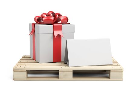 Wooden pallet with gift box, ribbons and red bow. With a template for congratulations. 3D illustration isolated on white background. Stockfoto - 131894611