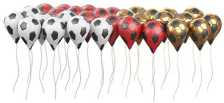Long row multicolored balloons in a form soccer balls with white and black segment. Big football feast, holiday. 3d illustration high resolution.