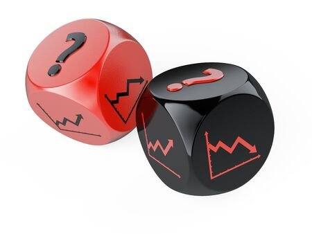 Red and black dices with statistics graphs on the sides and a question mark. Risky investment in big business. 3d illustration high resolution.