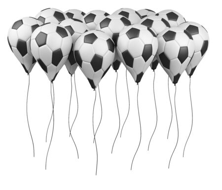 Row balloons in a form soccer balls with white and black segment. Big football feast, holiday. 3d illustration high resolution.