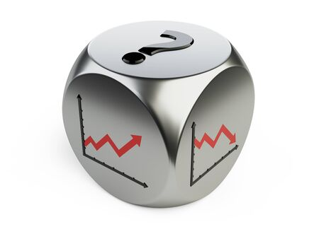 Dice with statistics graphs on the sides and a question mark. Risky investment in big business. 3d illustration high resolution.