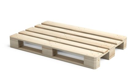 Wooden Euro pallet was not in use. Side view. 3d illustration isolated on a white background.