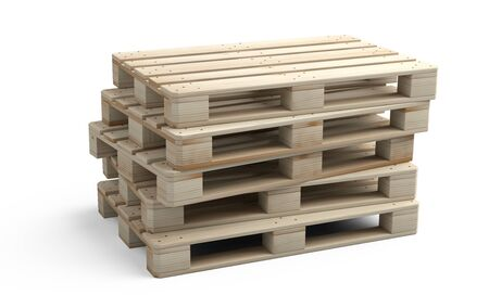 A stack of new wooden pallets. Side view. 3d illustration isolated on a white background. 免版税图像