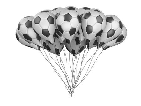 Bunch balloons in a form soccer balls with white and black segment. Big football feast, holiday. 3d illustration high resolution.
