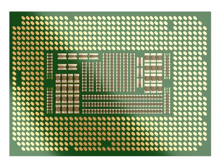Processor board isolated on a white background. 3d illustration. Reverse side of the processor with socket contacts.