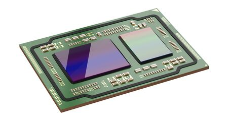 Processor green board isolated on a white background. 3d illustration. Motherboard digital chip cpu and gpu.