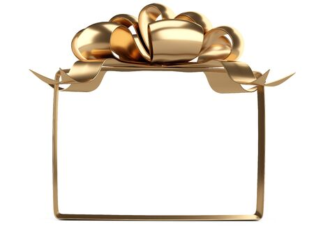 A square frame of golden ribbons and bow on top. Template for your design. Template for your design. 3d illustration isolated over white. 免版税图像