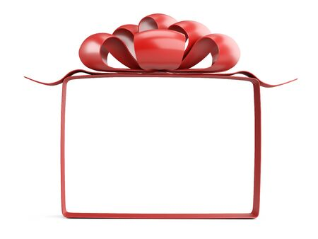 A square frame of ribbons and a red bow on top. Template for your design. 3d illustration isolated over white. 免版税图像