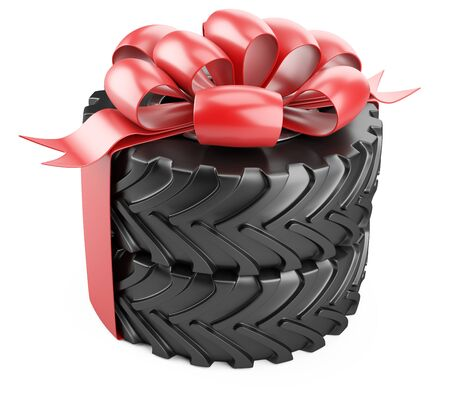 Big tire with red bow and ribbons. Heavy equipment vehicle. Isolated 3d illustration on white background.