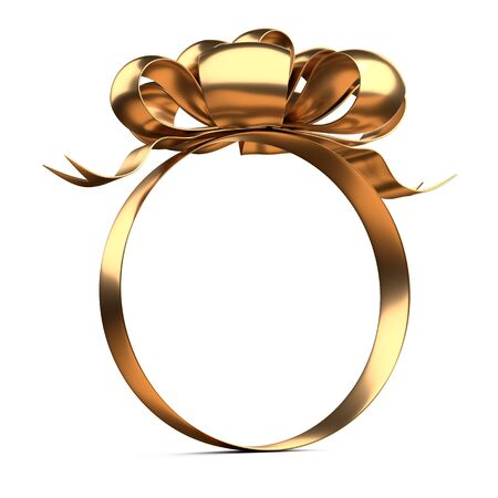 A round shape frame of golden ribbons and bow on top. Template for your design. Template for your design. 3d illustration isolated over white.