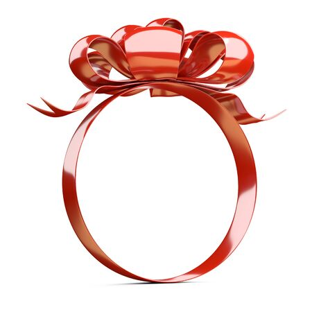 A round shape frame of ribbons and a red bow on top. Template for your design. 3d illustration isolated over white.