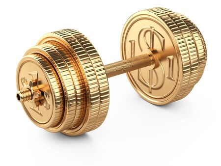 Gold dumbbell from coins. Business and sport - financial concept. 3d illustration isolated over white background.