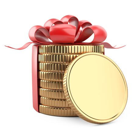 A stack of gold coins tied with a red ribbon with a bow. Near empty - template. Gift for the customer - concept of financial gain. 3d illustration isolated over white background.