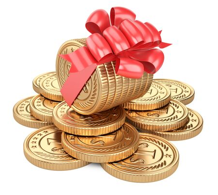 A stack of gold coins tied with a red ribbon with a bow. On the background of scattered coins. Gift for the customer - concept of financial gain. 3d illustration isolated over white background.