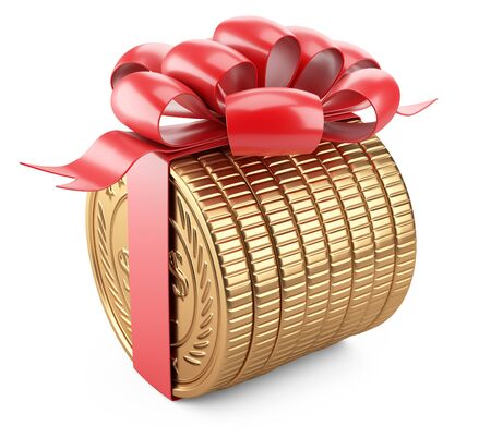 A stack of gold coins lying on its side tied with a red ribbon with a bow. Near empty - template. Gift for the customer - concept of financial gain. 3d illustration isolated over white background.