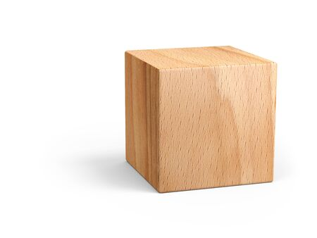 Wooden cube for conceptual design. Education game. 3d illustration isolated on a white background.
