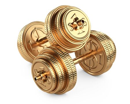 Gold dumbbells from coins, top view. Business and sport - financial concept. 3d illustration isolated over white background. 免版税图像