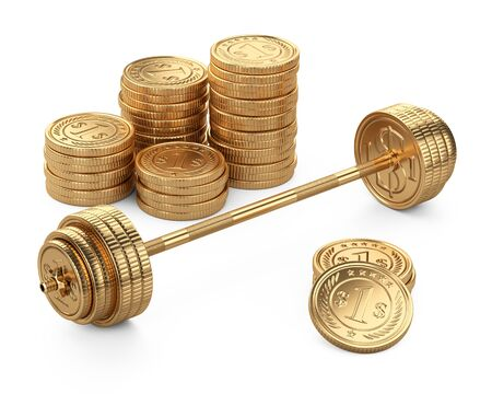 Barbell and piles coins. Big business concept. Earnings in sports competitions. 3d illustration isolated on a white bacground. 免版税图像