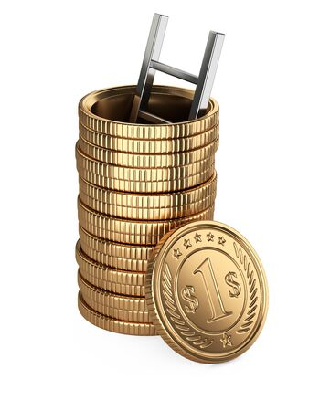 A stack of golden coins with hole, and staircase inside. Mortgages, life on credit. Debentures. 3d illustration isolated on a white background. 免版税图像