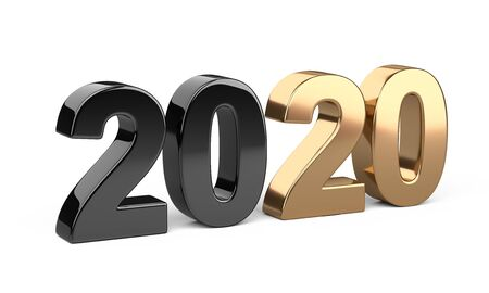2020 inscription. Represents the new year black and golden symbol. 3D illustration isolated on white background.
