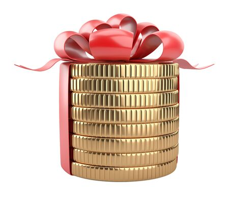 A stack of gold coins tied with a red ribbon with a bow. Gift for the customer - concept of financial gain. 3d illustration isolated over white background. 免版税图像