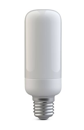 Energy efficiency LED light bulb - cylindrical shape. Power saving lamp. 3d rendering illustration isolated of background. 免版税图像