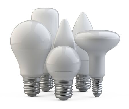 A set of LED efficiency energy light bulbs in various shapes and sizes. Power saving lamp. 3d rendering illustration isolated of background.
