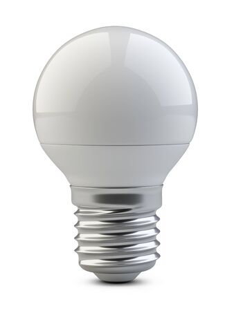 Energy efficiency LED light bulb - small sphere shape. Power saving lamp. 3d rendering illustration isolated of background.