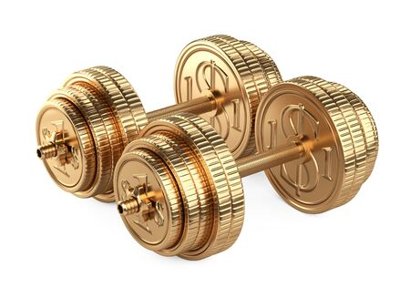 Gold dumbbells from coins. Business and sport - financial concept. 3d illustration isolated over white background. 免版税图像