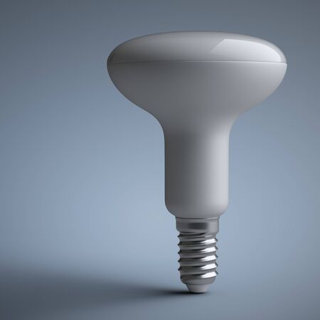 Energy efficiency LED light bulb - in the form of a mushroom. Power saving lamp. 3d rendering illustration  on a grey background.