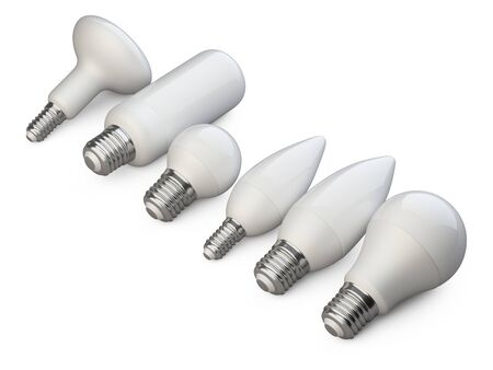 A set of LED efficiency energy light bulbs in various shapes and sizes. Power saving lamp. Stacked in row. 3d rendering illustration isolated of background. 免版税图像