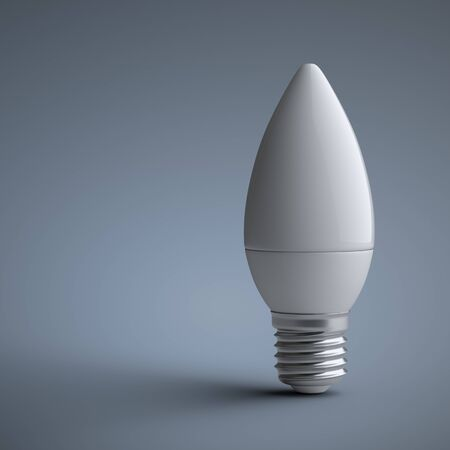Energy efficiency LED light bulb - candle shape. Power saving lamp. 3d rendering illustration  on a grey background.