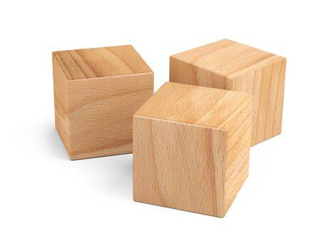 Cubes en bois pour le design conceptuel. Jeu d'éducation. Illustration 3D isolée sur fond blanc.
