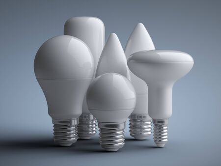 A set of LED efficiency energy light bulbs in various shapes and sizes. Power saving lamp. 3d rendering illustration on a grey background. 免版税图像