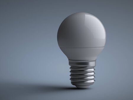 Energy efficiency LED light bulb - small sphere shape. Power saving lamp. 3d rendering illustration  on a grey background.