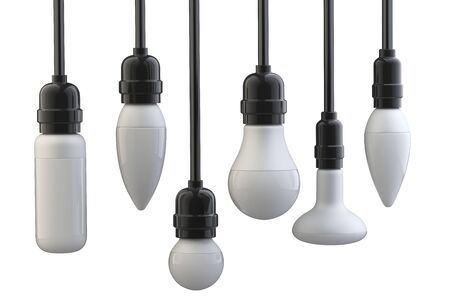 Light bulbs in electric cartridges on wires. 3d illustration isolated on a white background.