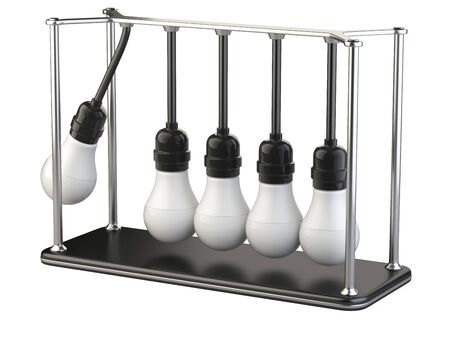 Newton's cradle made of light bulbs on the stand, teamwork  leadership concept icon. 3d illustration isolated on a white background.