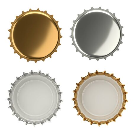 Metal beer bottle cap, blank label. Icon set. Top and bottom view. Template design. Closeup on white backdrop 3d illustration. 免版税图像 - 141351032