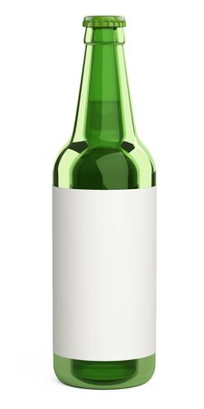 Green glass beer bottle with a label. Design mockup template.  3d illustration isolated on a white background. 免版税图像 - 141351031