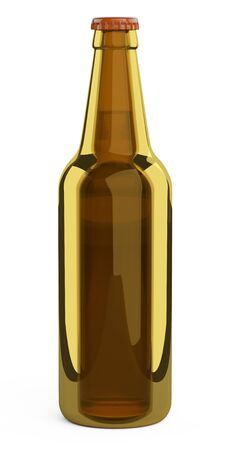 Brown glass bottle. Design mockup template. 3d illustration isolated on a white background.