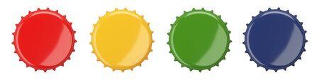 Colored bottle cap, blank label. Icon set. Top view. Template design. Closeup on white backdrop 3d illustration. 免版税图像
