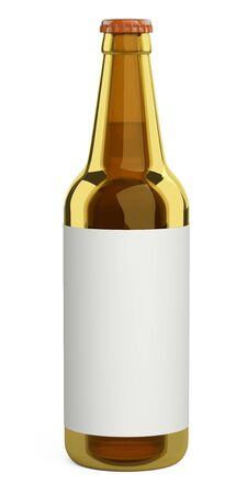 Brown glass beer bottle with a label. Design mockup template. 3d illustration isolated on a white background. 免版税图像