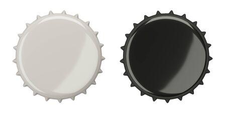 Beer bottle cap, blank label. Icon set. Top view. Template design. Closeup on white backdrop 3d illustration.  免版税图像